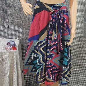 Brightly Multi-Colored Skirt w/ Wrap Belt
